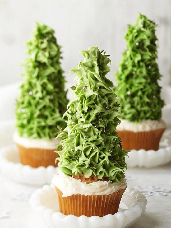 Use an upside down ice cream come and green frosting and decorate with candy!