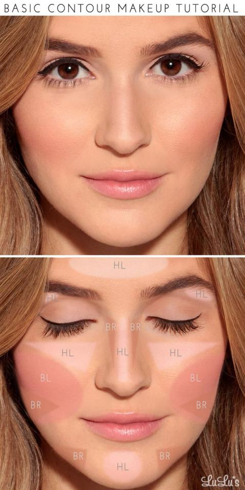 "Start by applying a light foundation in the areas labeled ""HL"" to add highlights. Fill in the areas marked ""BR"" with a darker foundation (about 2 shades darker than your skin) to act as your bronzer. Finish off by applying blush in the area of the cheekbone marked ""BL"" and—voilà!"