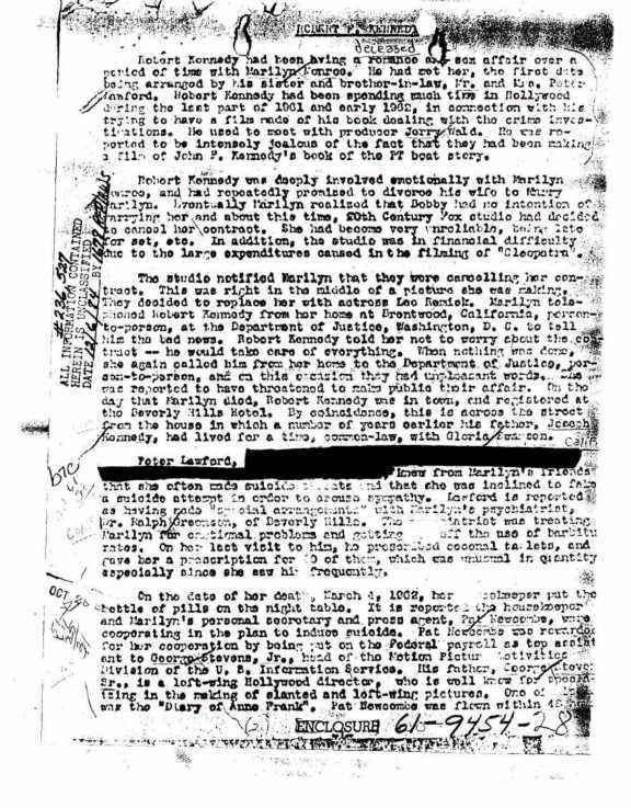 #8 Under FBI's Investigation  FBI was investigating Marilyn Monroe as they thought that she was a communist sympathizer. They had compiled a 34 page file of evidence that she indeed was a communist supporter. The files are open for public eyes and can be accessed online.