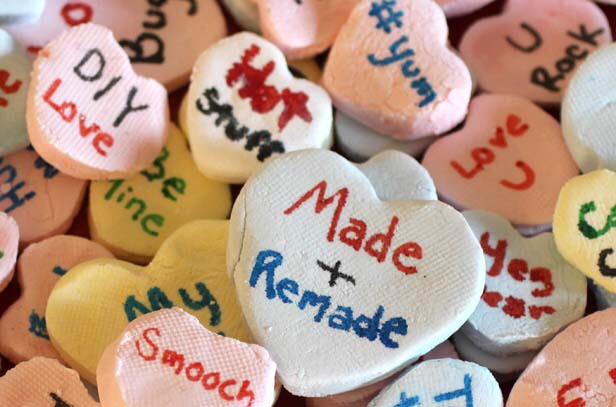 Using edible color food markers, write your custom Valentine message on each heart. Cute, heartfelt or even bawdy, your personal conversation hearts are sure to wow friends, classmates or that special someone. Recipe yields about 60 hearts. Check out more on the DIY network. Enjoy ^.^