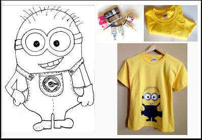 Materials:  1. Puffy Paints.    -Black    -White    -Silver    -Brown    -Navy    -Butterscotch 2. Size 6 or small Round Paint Brush. 3. Yellow t-Shirt. 4. Minion Outline (download pdf).