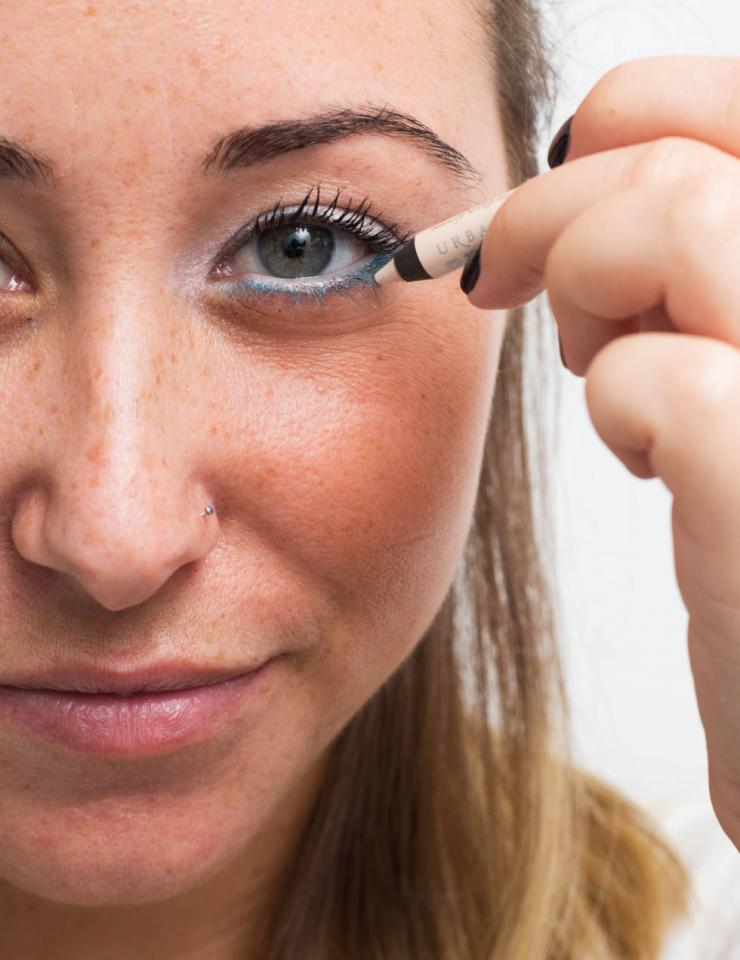 16. Line your waterline with white liner to make your eyes appear bigger. Lining the inner rims of your eyes with a dark eyeliner is great for a smoky eye look but can oftentimes make your eyes appear slimmer. Opt for a white liner for a brighter, bigger look.