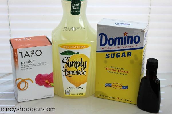 INGREDIENTS 2 Tazo Passion Tea Bags 16 oz Water 4 oz Lemonade 2 tsp sugar 1/8 tsp Vanilla