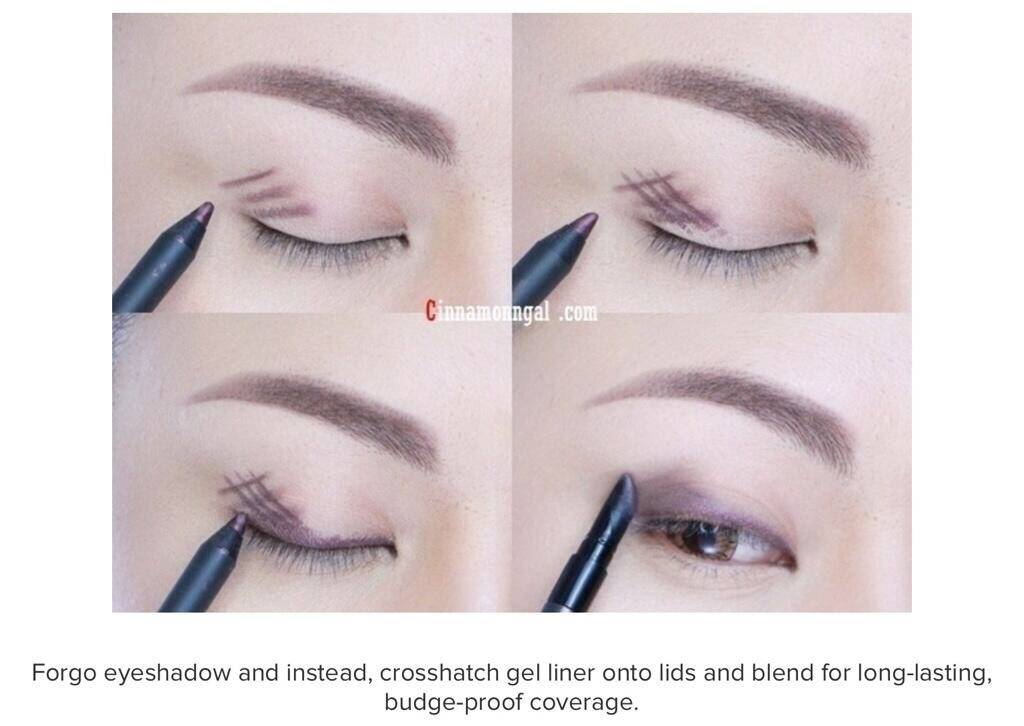 Forgo eyeshadow and instead , crosshatch gel liner onto lid and blend for long lasting bulge proof coverage.