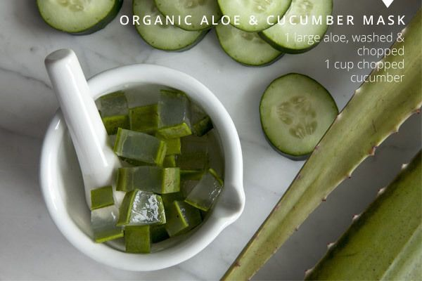 Aloe and cucumber are both excellent for soothing irritated, sensitive skin. Aloe contains natural skin hydrators and the high water content in cucumbers cools inflamed skin—especially when chilled.
