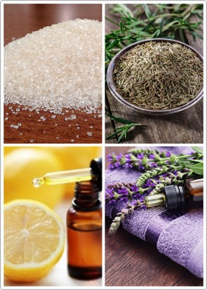 Ingredients 1 cup organic cane sugar  1/4 cup olive oil 2 Tablespoons raw honey  2 tsp dried rosemary  15 drops lemon essential oil  15 drops lavender essential oil  Directions Mix sugar, dried rosemary, olive oil, and raw honey together.