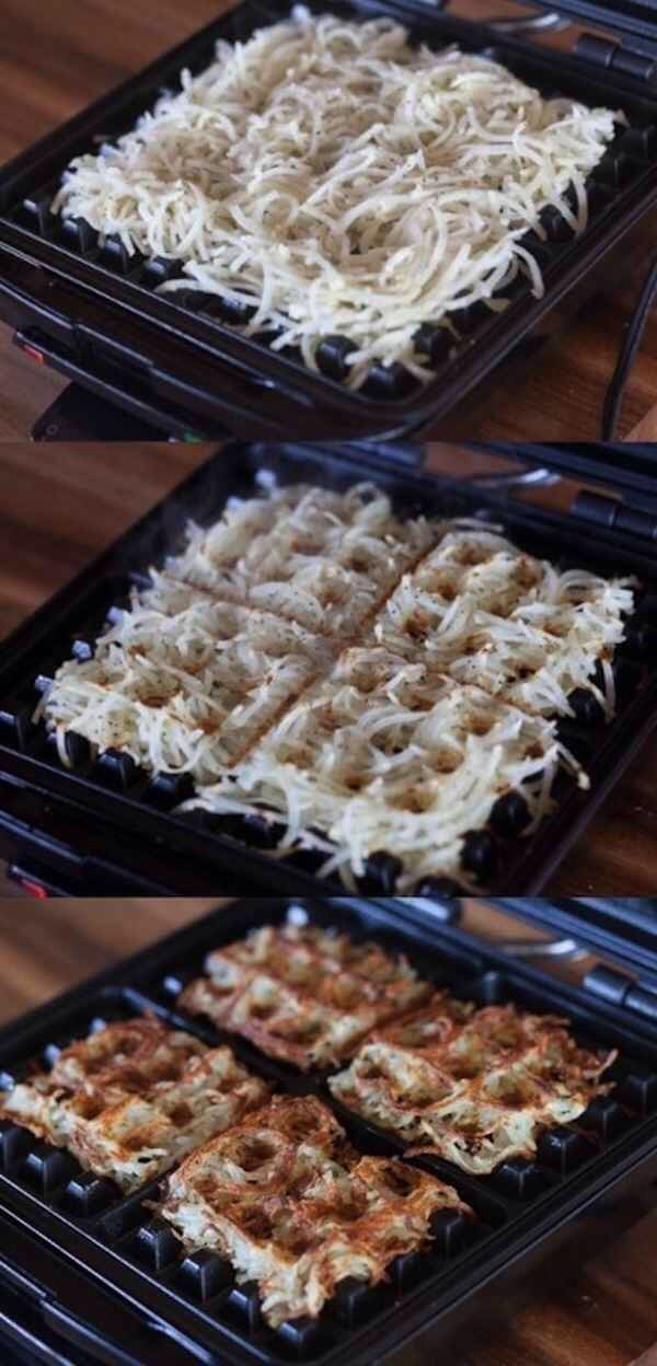 Use a waffle maker to make speedy hash browns.