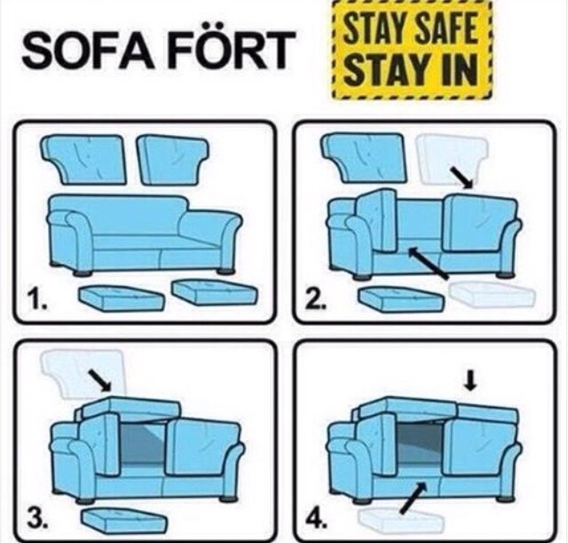 Build your own fort with just the parts to the sofa!