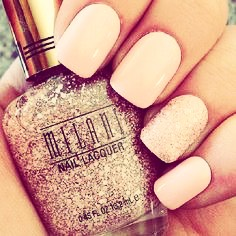 You'll need a light pink and thick glitter  1. You put on the light pink  2. Then put on a second coat  3. Then put on two layers of glitter  4. Then either air dry or use a nail polish dry spray