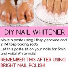 Once they grew a bit. I made a DIY nail whitening treatment. I used this once a week and especially after I took of my nail polish. Although using a base coat will help prevent nail staining I used it just to keep my nails clean.