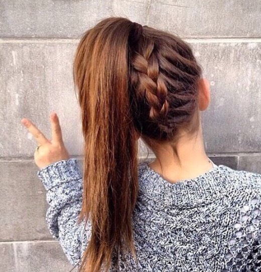 Back braid pony tail