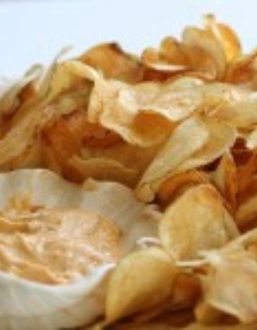 For the Chips: You may want a mandolin  1 large russet potato for every 2 people oil for deep frying salt For the dip:  Dip (Sweet Smoky Paprika & Cumin Aioli) 1 cup mayonnaise 1 tsp cumin 1 tsp smoked sweet paprika 1 large garlic cloved, minced with garlic press 1/2 tsp salt freshly ground pepper