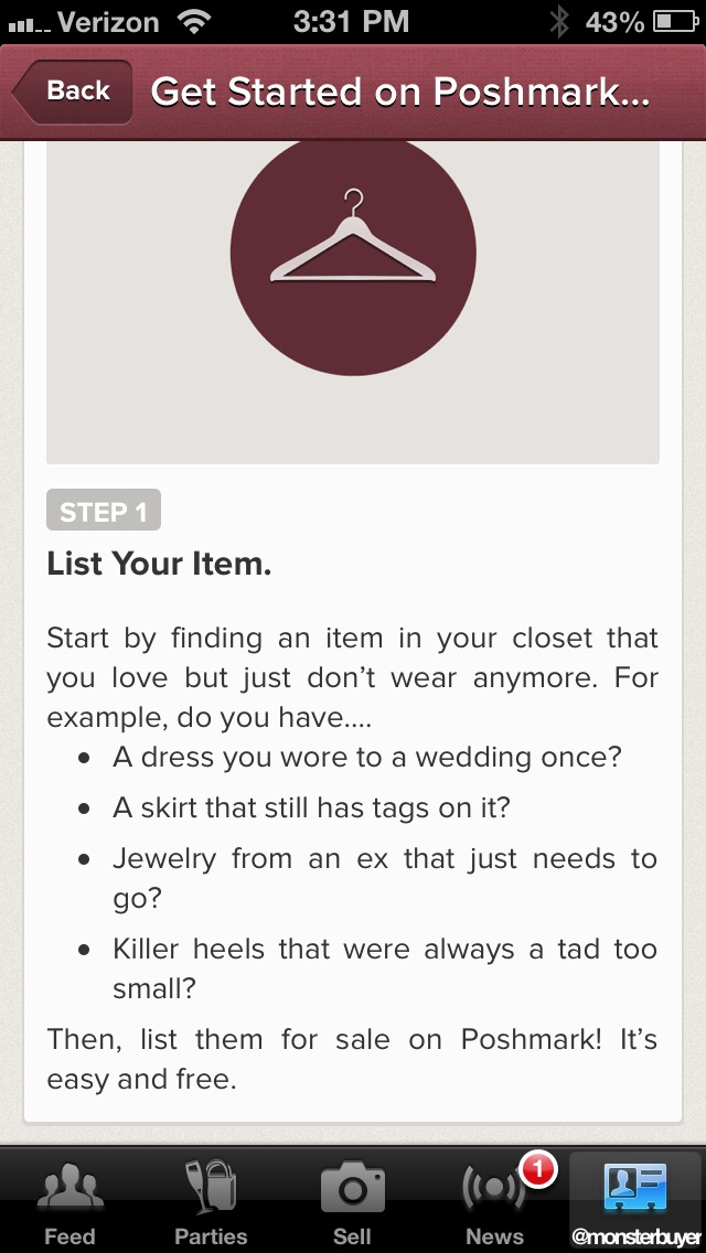 Postmark is a great app that let's you sell your clothes and buy clothes that other people are selling! Great way to clean out the closet!