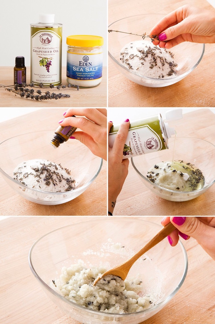 INSTRUCTIONS|Remove the lavender buds from the sprigs just like you would with herbs like thyme +rosemary, then boost the calming aroma by addingdrops of lavender essential oil to your sea saltscrub. Pour in the grapeseed oil +gently mix to combine.