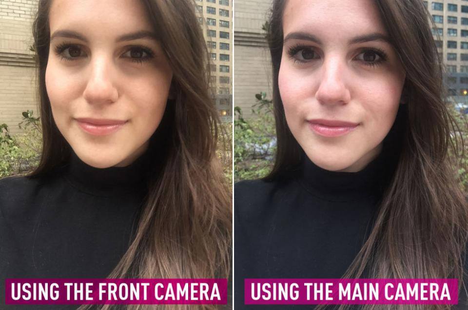 11. Use the front camera on your phone for softer photos and the main camera to take more detailed shots. Pictures taken with the front camera have an airbrushed effect (great for selfies) while the main camera is much sharper and better for taking distance shots.