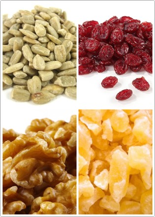 Next, gather some dried fruit and nuts. I used dried cranberries, dried pineapple, walnutand sunflower seeds.