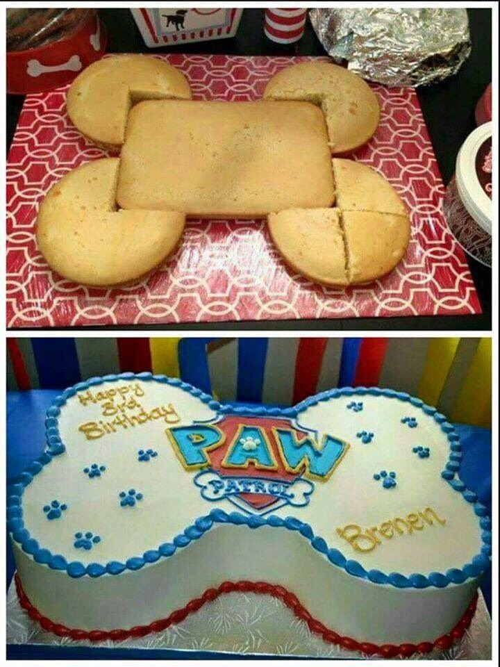 EASY PAW PATROL CAKE...this is such a great idea using 3 round cakes with a 9x13 cake! via One Little Project