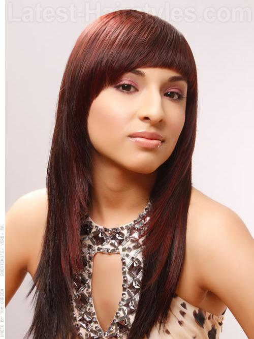 FRAMED FRINGE Forward bangs that round out and down into infinite layers make a bold statement. Precise cuts and perfect shapes create a more modern and contemporary style. Add a touch of red for an all-around look that really glows