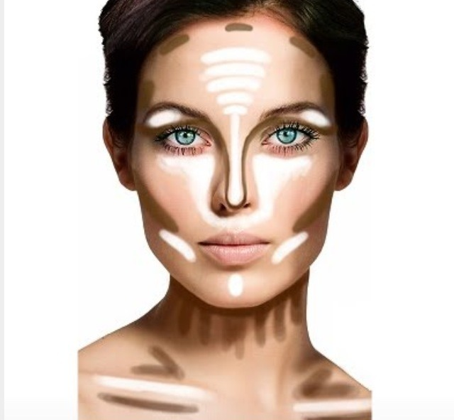 Your face is three dimensional so applying foundation in a single tone will only make your face appear flat. Add a highlighter to areas of your face that would usually catch light but create enough shadow to emphasize your jaw line and cheekbones.