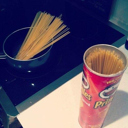 Pringles cans are the perfect size and length to store the uncooked leftovers while keeping it fresh.