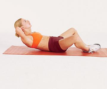"Beginner MovesButterfly Crunch Targets: rectus abdominus (""six-pack"")  Lie on your back with the soles of your feet together as close to your body as possible, with knees bent out to sides. Place hands behind your head, elbows in line with ears. Keeping your back flat on floor and stomach muscles"