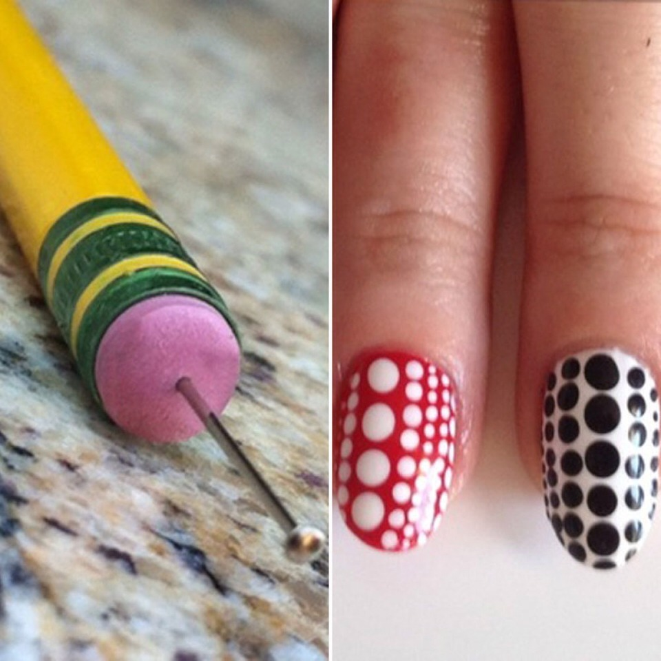 """This DIY nail art tool sparked an """"aha! moment."""" While we've seen dots duplicated with toothpicks and bobby pins, the eraser-and-sewing pin convos."""