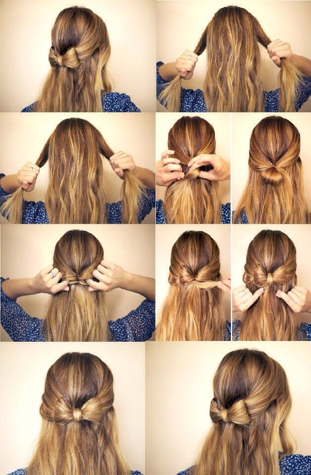 2. A small hair bow. The pictures mostly explain it all. (A brief explanation): First, take two equal portions of hair from the left and right sides of your head and leave a lot in the middle. Then put it into a small loose like bun. Next, split it into two sections. Follow the rest of the steps^