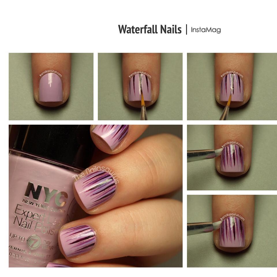 --> For full tutorial:   http://www.thenailasaurus.com/2013/07/waterfall-nail-art-tutorial.html?m=1