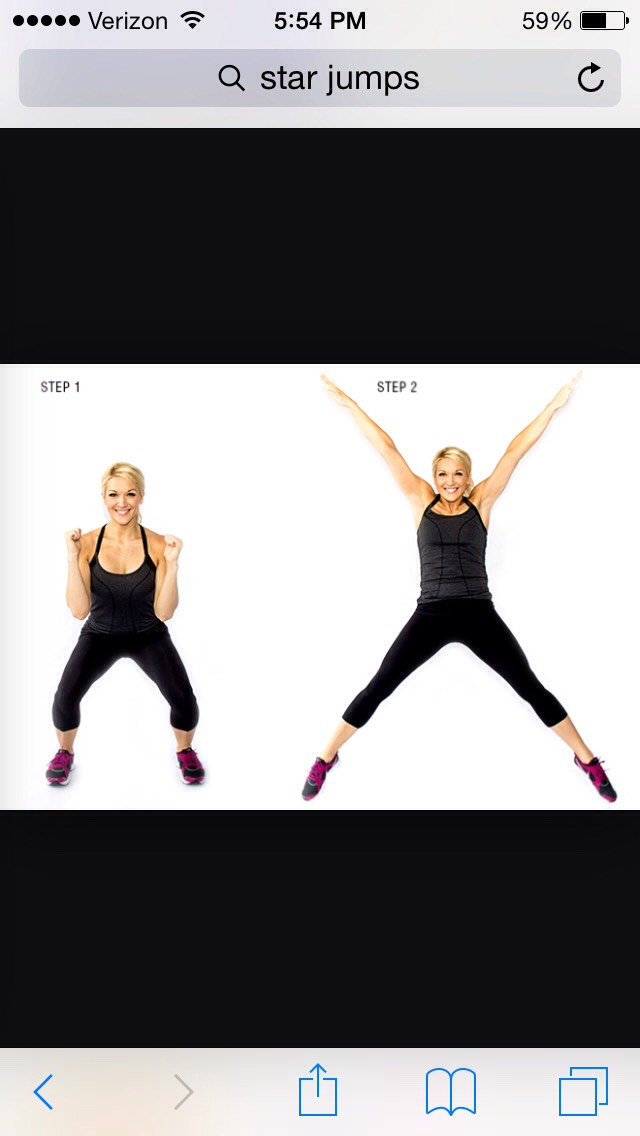 After doing the squat jumps, you want to work more legs. So you're going to do 10 or more star jumps.
