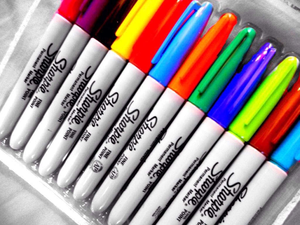 Any coloured sharpies!I prefer black because it stands out more but you can go with whatever you like!You can also use textas but it wouldn't work as good as sharpies and it wouldn't stay on for as long.