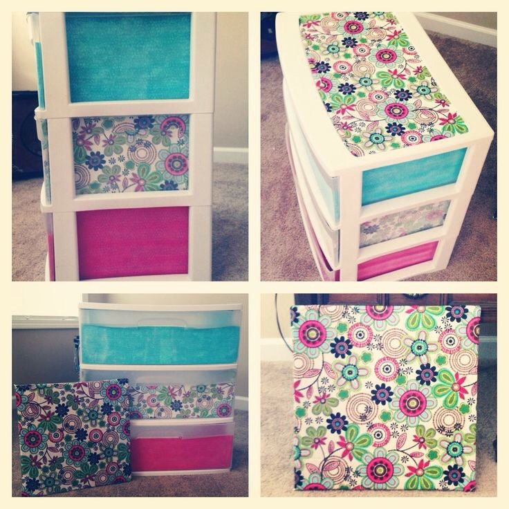 Get some of your favorite fabric or duck tape  and style how you want on you dresser organizer!