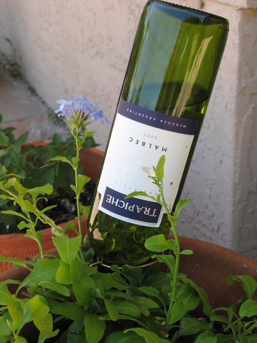 Rinse an empty wine bottle, and fill with water. Standing next to your planter, quickly turn over the bottle and push the neck down into the soil near the center of the planter. Make sure the neck is at least several inches underground. The water in the bottle will seep in soil and keep the soil wet