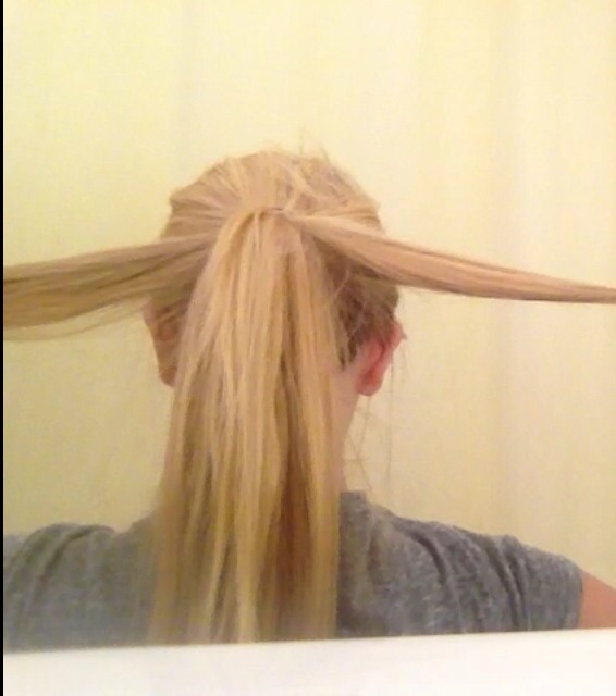 ✨Take the two outer corners of the ponytail and bobby pin them inwards towards the center 😊✨