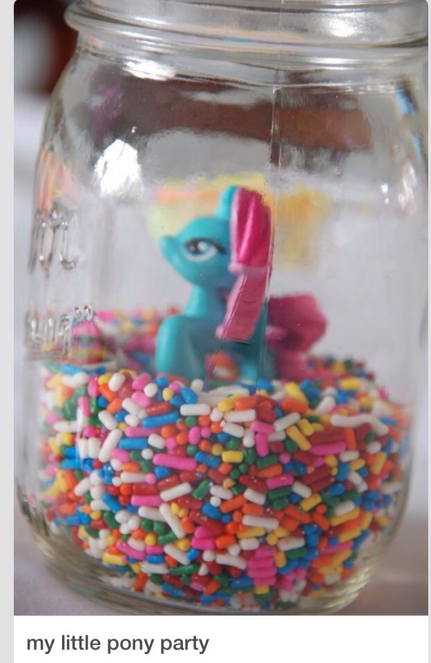Mason jar sprinkles and favorite pony!