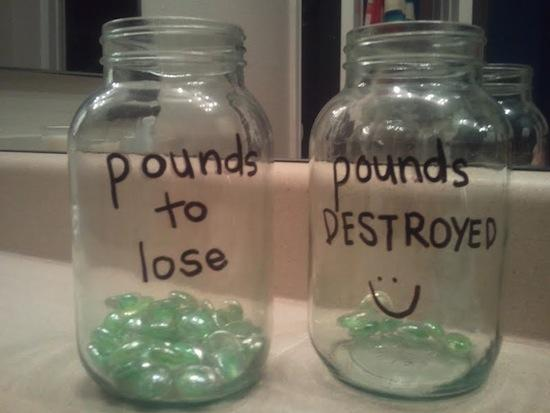 15. Motivational Weight Loss Jars What a unique and fun way to stay motivated! Each marble or pebble is a nice visual reminder of what you've accomplished. Just about any glass jars will do, and you could substitute the marbles for other small items, too.