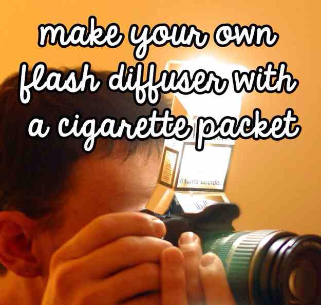 A DIY flash diffuser made out of a cigarette packet
