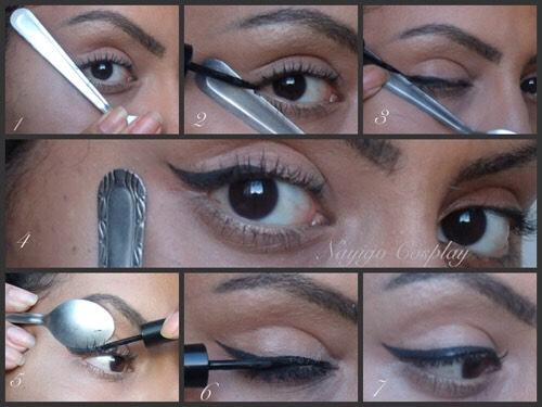 use a spoon to get perfect winged eyeliner!