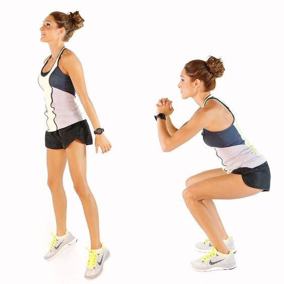 2. Sumo Jump Squats – 20 Reps Tip:Make sure your knees don't bend past your toes as you squat deep and try to get as much air as your can on the jump.