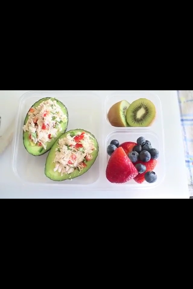 chicken salad in a avocado!! this is ssoooo tasty and sooo easy to make! you can make the chicken salad to your liking and then just toss it in and avocado!