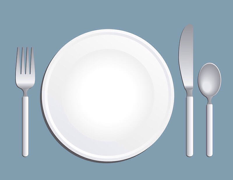Downsize plates, bowls, glasses, and silverware. Using smaller versions of your serving will help you eat less food.