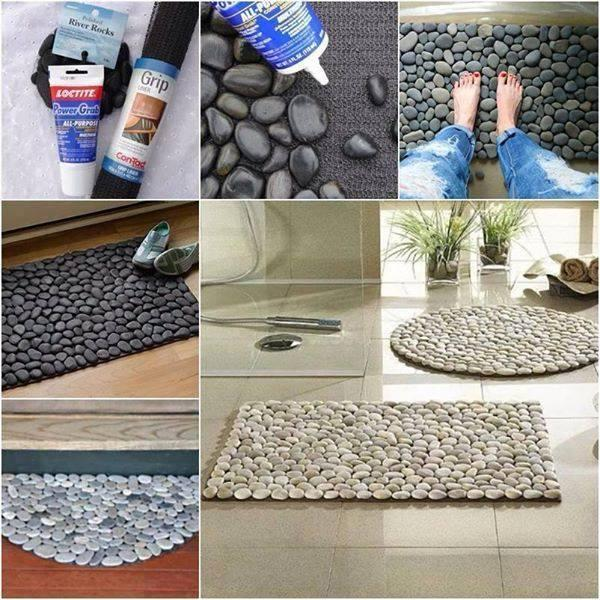 Giue small pebbled to a rubber matt