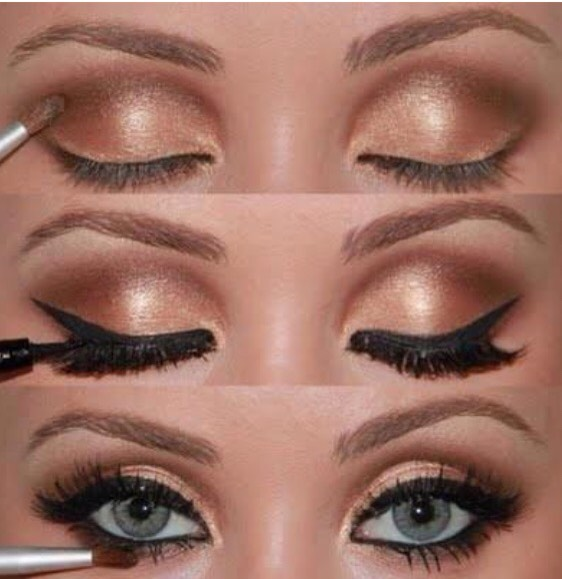 Using browns and golds is the best way to make your blue eyes pop.