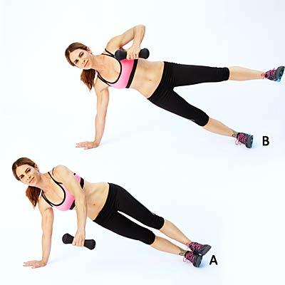 Side plank with row