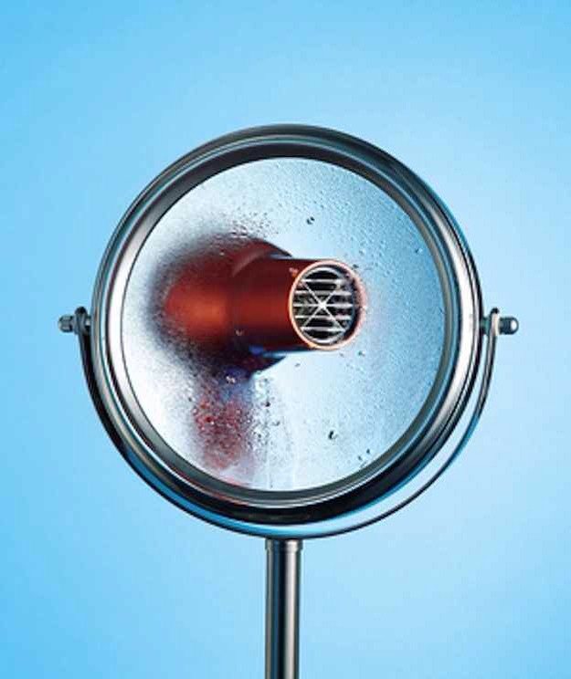 Defog a mirror quickly with a blow dryer.