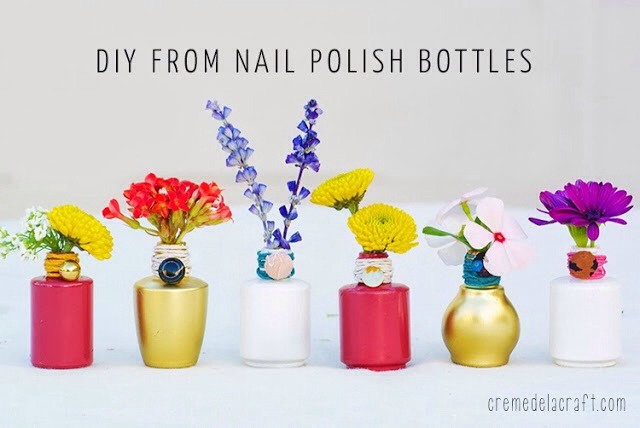 Got a few empty nail polish bottles laying around? Upcycle them into colorful flower bud vases! What's great about this DIY tutorial is that you probably have most (if not all) of these craft supplies at home, which makes this a really easy and cheap project to make.