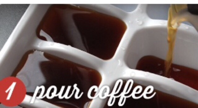 Pour coffee in cube tray.