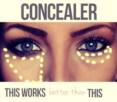 •apply concealer in a triangle shape and fill in this will hide redness beneath your eyes and make face look more awake.