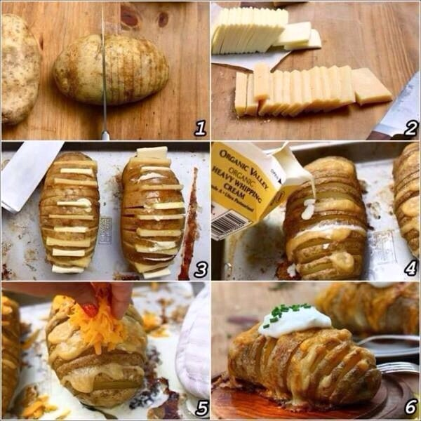 Ingredient: Few potatoes Cheese Butter Shredded cheddar Olive oil Organic heavy whipping cream  Bake at 400 •F for 40-60 minutes.