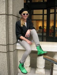 Or even go for that edgy look with a bright pair of Dr Martens