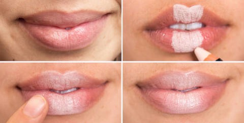 23.Create the illusion of plumper lips by filling in the middle section with a light concealer, blending it out with the warmth from your fingertip, and finishing with a nude lip gloss.